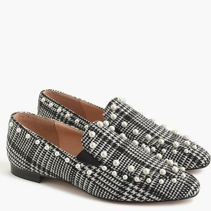 NEW J Crew Pearl-studded loafers in glen plaid 9